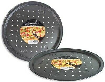 33cm Non-Stick Pizza Baking Tray With Holes Brushed Steel