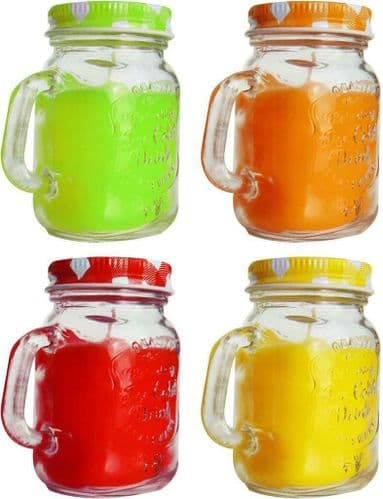 4 Farmhouse Jar Candle Multicoloured Incense Aroma Relaxing Fragrance Candles