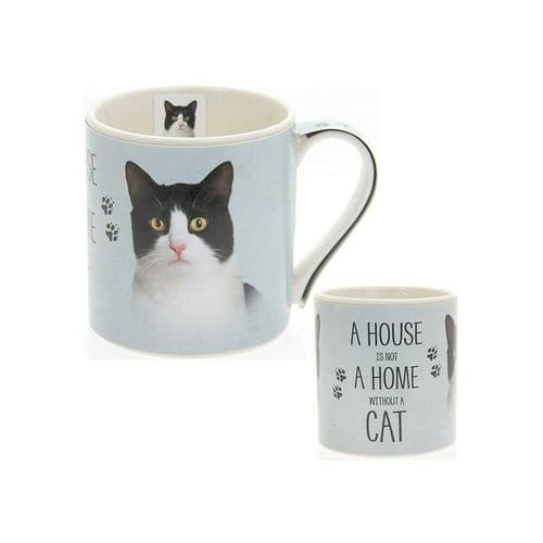 """Fine China Cat Picture """"A House is not a Home Without a Black & White cat"""" Sentiment Boxed Mug"""