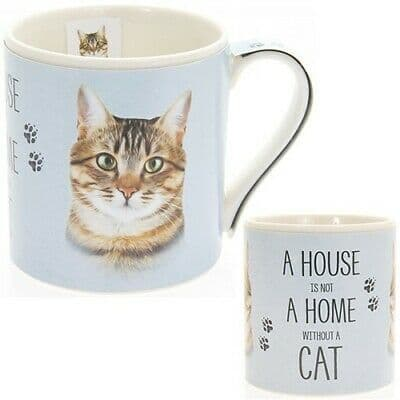 """Fine China Cat Picture """"A House is not a Home Without a Tabby Cat"""" Sentiment Boxed Mug"""