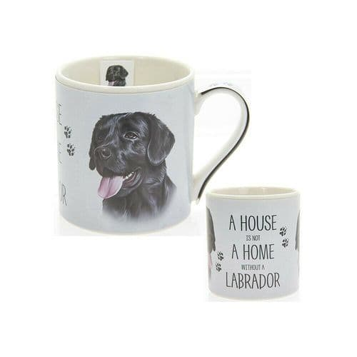 """Fine China Dog Picture """"A House is not a Home Without a Black Labrador Sentiment Boxed Mug"""
