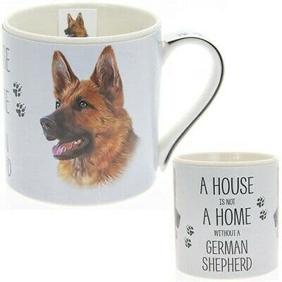 """Fine China Dog Picture """"A House is not a Home Without a German Shepherd Sentiment Boxed Mug"""
