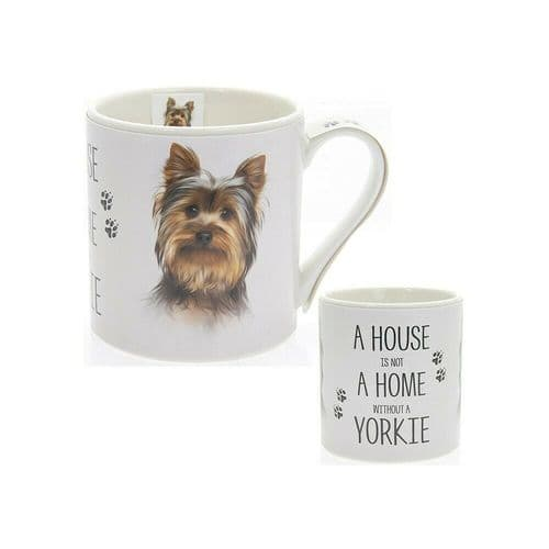 """Fine China Dog Picture """"A House is not a Home Without a Yorkshire Terrier Sentiment Boxed Mug"""