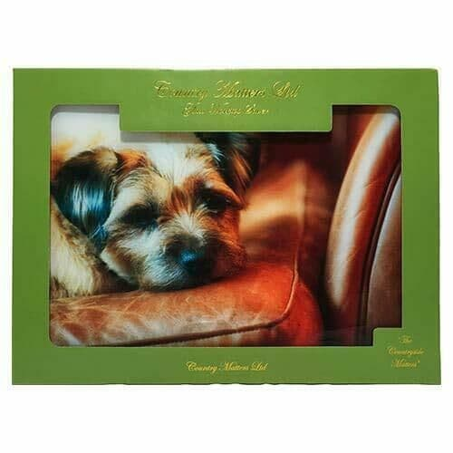 Flirty Gerty Border Terrier Glass Work Top Saver, Chopping Board Country Matters
