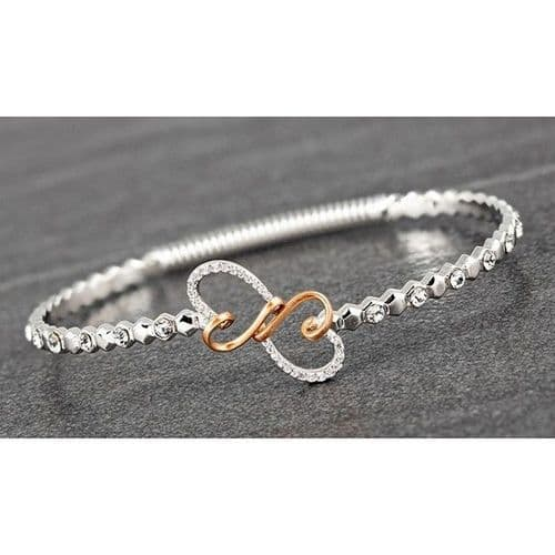 Matt Platinum Plated & Rose Gold Plated Looped Hearts Bangle Gift Boxed New