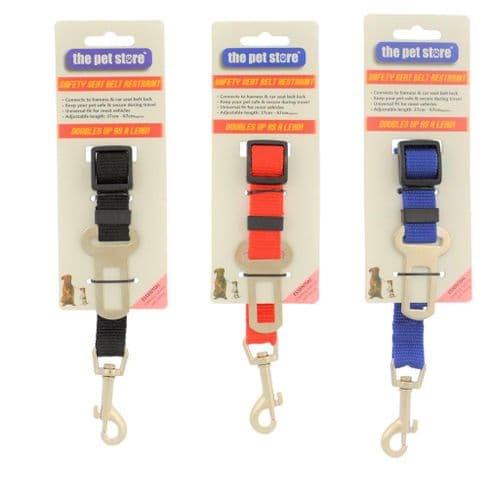 Pet Dog Car Seat Belt Clip Safety Harness Restrain Van Travel, Black, Red, Blue