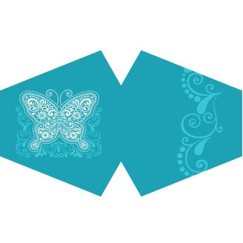 Reusable Fashion Face Covering - Blue Butterfly (Adult)