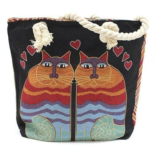Rope Handle Two Cats Bag