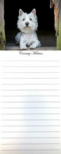 Westie Magnetic 50 Page Memo Pad, Country Matters, West Highland White Terrier