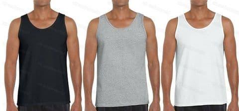 Mens Plain 100% Cotton Sleeveless Vest Adults Gym Athletic Training Tank Top