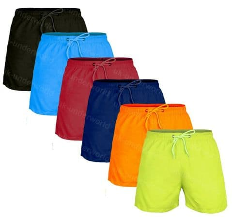 Mens Swimming Shorts Plain Lined Board Trunks Beach Summer Adults Swimwear