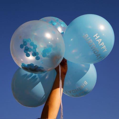 BLUE CONFETTI BIRTHDAY BALLOONS 5PK