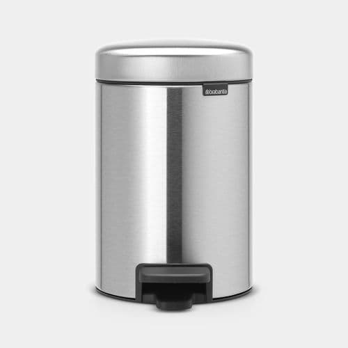 BRABANTIA PEDAL BIN NEWICON MATT STEEL FINGERPRINT PROOF 5L