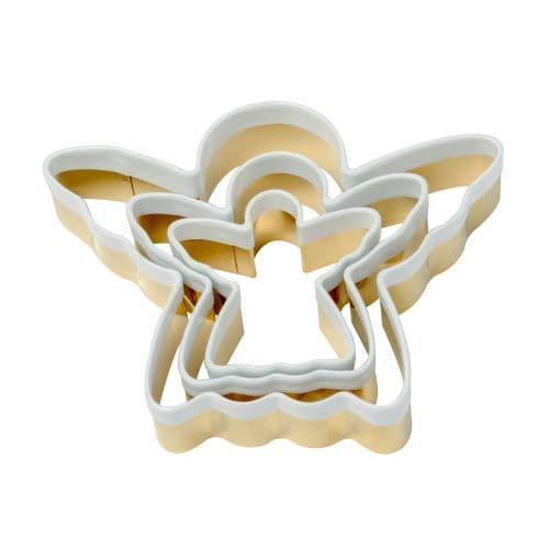 BRASS ANGEL COOKIE CUTTERS SET OF 3 WITH WHITE TOP