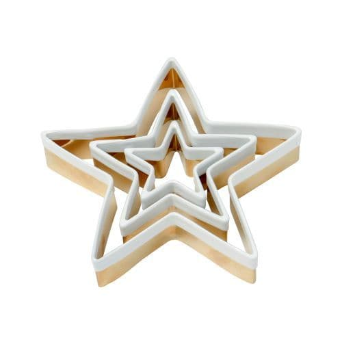 BRASS STAR COOKIE CUTTERS SET OF 3 WITH WHITE TOP