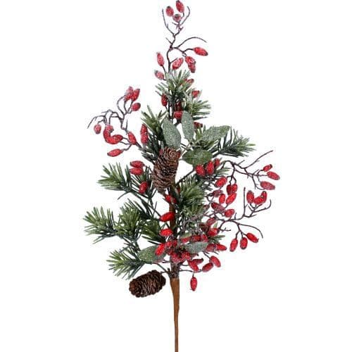 GISELA GRAHAM FIR BRANCH WITH RED ROSEHIPS