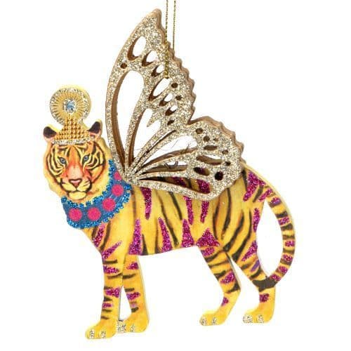 GISELA GRAHAM WOOD TIGER DECORATION