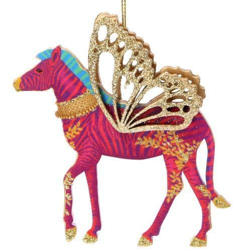 GISELA GRAHAM WOOD ZEBRA DECORATION
