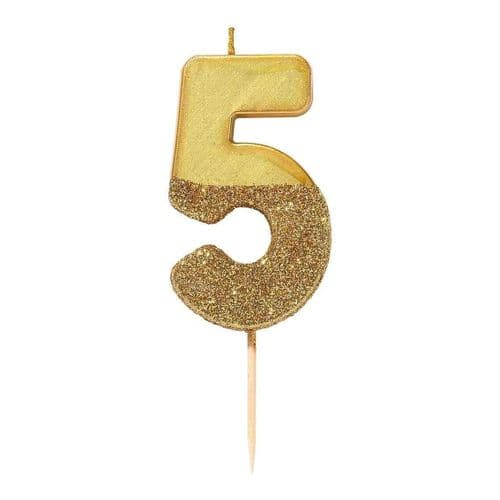 GOLD GLITTER NUMBER FIVE CANDLE