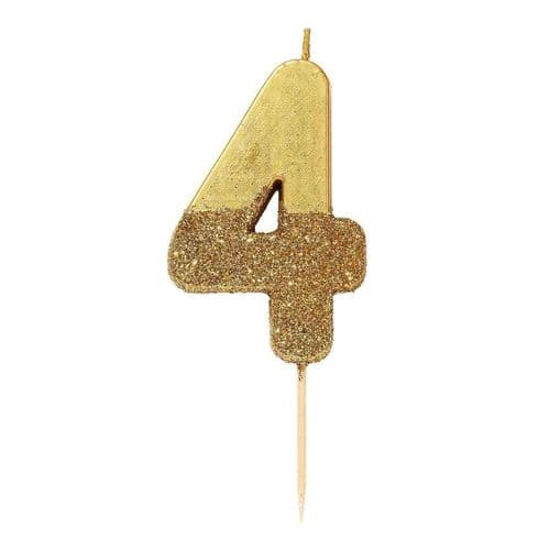 GOLD GLITTER NUMBER FOUR CANDLE