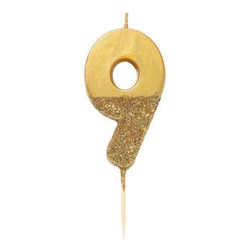 GOLD GLITTER NUMBER NINE CANDLE
