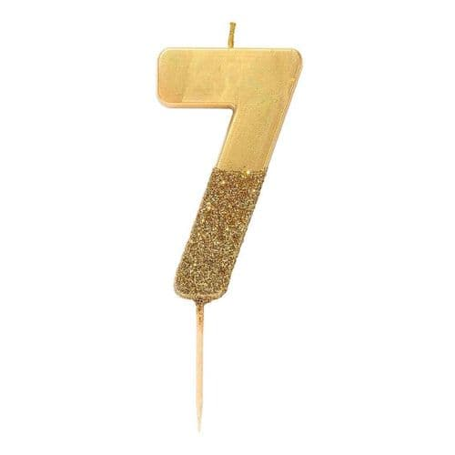 GOLD GLITTER NUMBER SEVEN CANDLE
