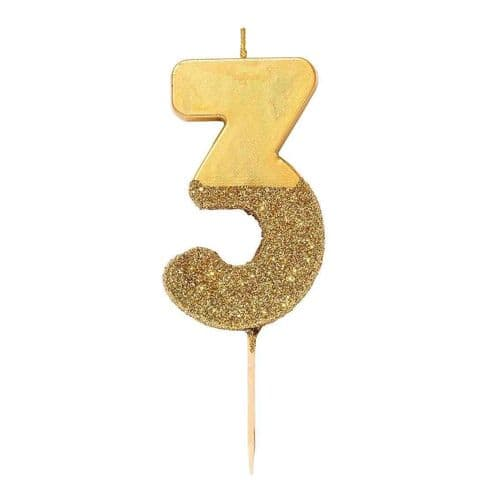 GOLD GLITTER NUMBER THREE CANDLE