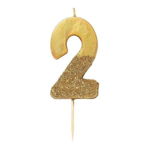 GOLD GLITTER NUMBER TWO CANDLE