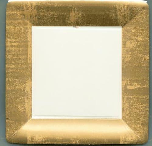 GOLD LEAF IVORY DINNER PLATES  PACK OF 8