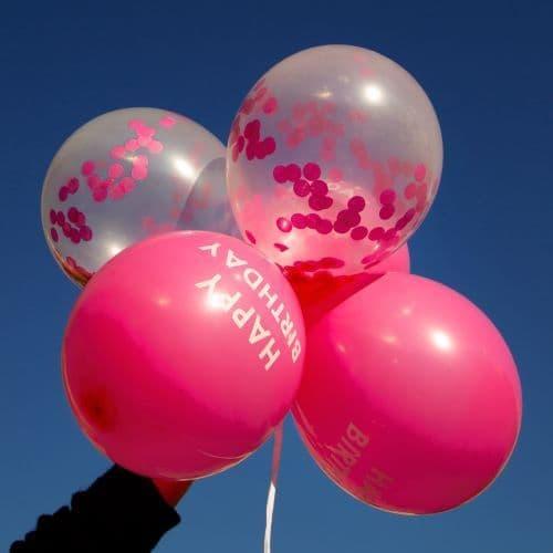 PINK CONFETTI BIRTHDAY BALLOONS 5 PACK