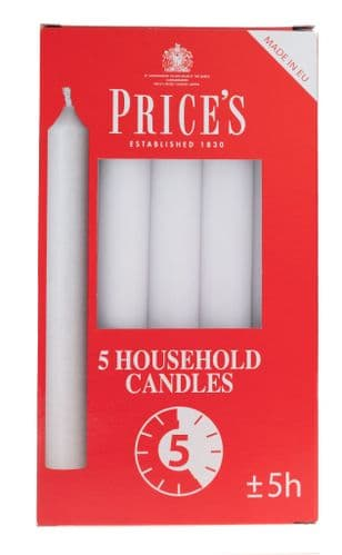 PRICES WHITE HOUSEHOLD CANDLES (PK5)