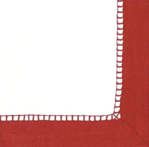 RED LINEN COCKTAIL NAPKIN