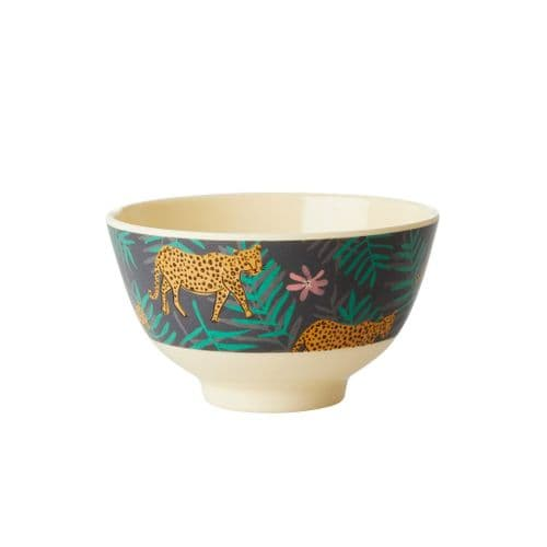 RICE BOWL SMALL LEOPARD LEAVES MELAMINE