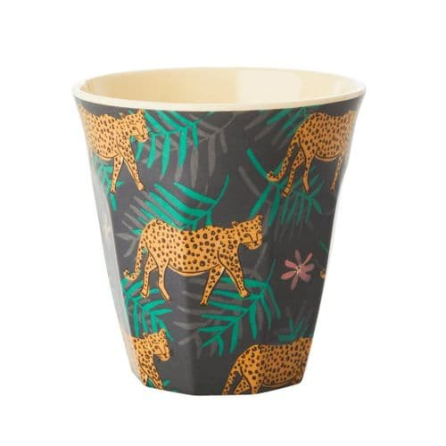 RICE CUP MEDIUM LEOPARD LEAVES MELAMINE