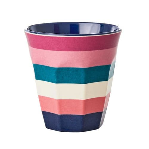 RICE CUP MEDIUM STRIPE TWO TONE MELAMINE