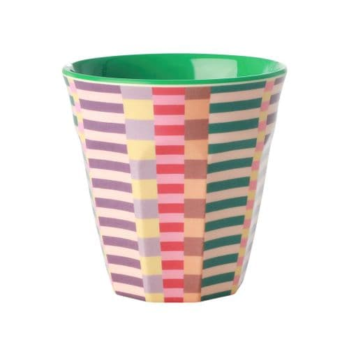 RICE CUP MEDIUM SUMMER STRIPES MELAMINE