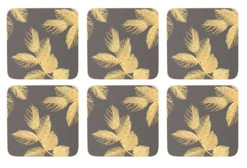 SARA MILLER ETCHED LEAVES DARK GREY COASTERS (PK6)
