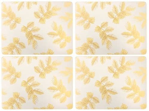 SARA MILLER  ETCHED LEAVES LIGHT GREY PLACEMATS (PK4)