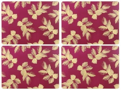 SARA MILLER ETCHED LEAVES PINK PLACEMATS (PK6)