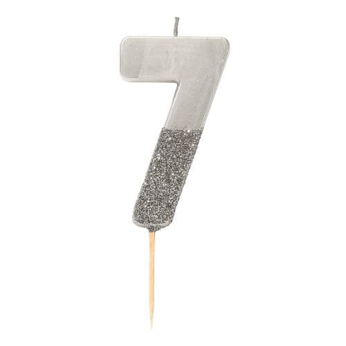 SILVER GLITTER NUMBER SEVEN CANDLE