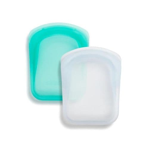 STASHER POCKET BAG SET OF 2 CLEAR/AQUA
