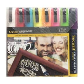 6mm Wet Wipe Securit Chalk Marker Primary Colours Multipack