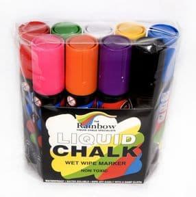 9 Pack Assorted Colours Rainbow chalk 15mm Broad Nib Liquid Chalk Markers