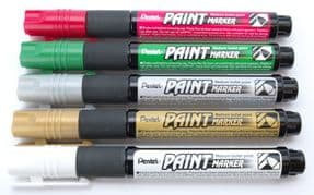 Christmas Pack of 5 Pentel Permanent bullet tip paint markers MMP20