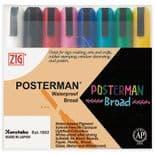 Pack of 8  Assorted Zig Posterman Waterproof Liquid Chalk Marker Pens 6mm Nib PMA-50