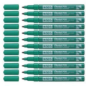 Pentel N50S Green Fine Permanent Marker Pack of 12