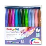 Pentel Touch Brush Sign Pen 12 Pack Fresh Colours