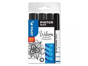 Pilot Pintor 4 Piece Black Set - Mixed Sizes