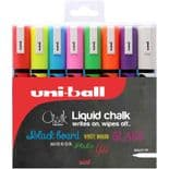 uni Chalk 8 Pack Assorted PWE-5M Chalk Markers