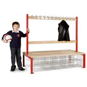 Primary School Double Island Seating with Compartments & Hooks